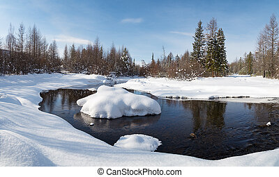 Winter landscape with reflection
