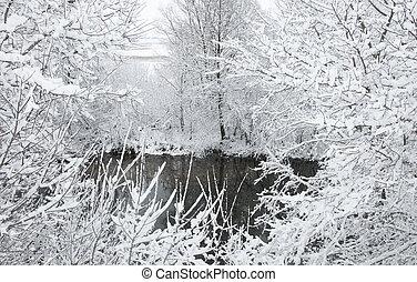 Winter Landscape with River, Russia