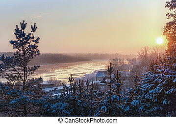 Winter landscape with river view