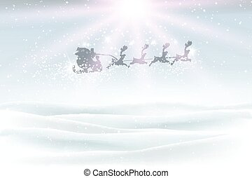 winter landscape with santa flying in the sky 2609
