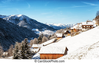 Winter landscape with ski lodge in austrian alps Vorarlberg area