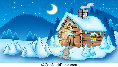 Winter landscape with small cottage - color illustration.