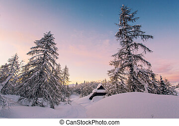 Winter landscape with small wooden house