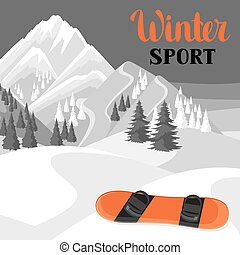 Winter landscape with snowboard. Snowy mountains and fir...