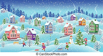Winter landscape with snowcovered houses children snowman