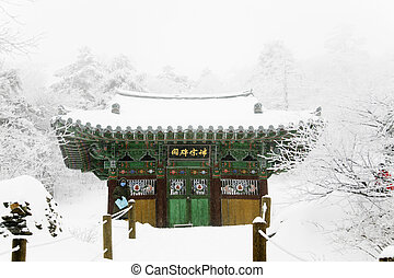Winter landscape with temples in south korea
