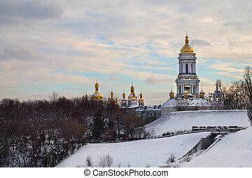 Kiev-Pechersk Lavra - winter landscape with the...