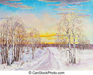 Winter landscape with the road and birch trees in the snow on a canvas. Original oil painting.