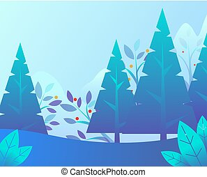 Winter Landscape with Trees and Foliage Vector