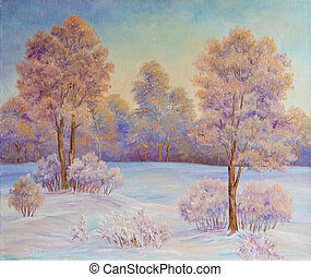 Winter landscape with trees in the snow on a canvas. Original oil painting.