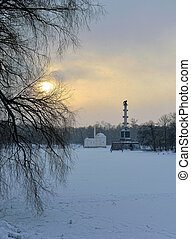 Winter  landscape with Turkish Bath  and Chesme Column pavilion