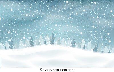 Winter Landscape With White Snow Border