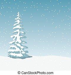Winter landscape with x-mas tree, snowfall at twilight. ...