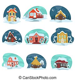 Winter landscapes with houses covered with snow vector