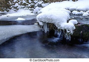 winter., landschaftsbild, winter, wasserfall, wald, fluß