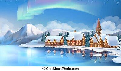 winter, landschap., kerstmis, cottages., feestelijk, kerstmis, decorations., jaarwisseling, achtergrond., 3d, vector, illustratie