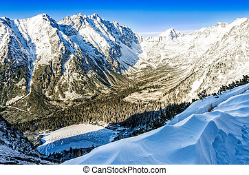 winter landschap, meer, slowakije, bergen, huisje, landscape, aanzicht
