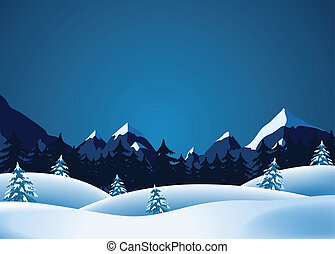 Winter Lanscape - Illustration of winter landscape with...