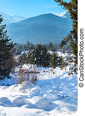 Winter lansdcape with mountain peaks view and snow valley