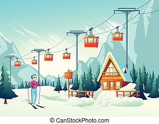 Winter leisure in snowy mountains cartoon vector
