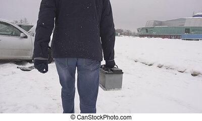 winter., lent, installs, voiture, porte, mouvement, batterie, neige, voiture, homme