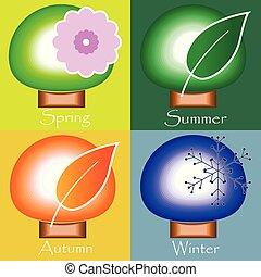 winter., lente, herfst, -, quatres saisons, zomer