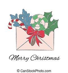 WINTER LETTER Merry Christmas Cartoon Vector Illustration Set
