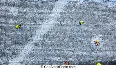 winter, leute, höhe, unrecognizable, hockey, draußen, spielende , ansicht