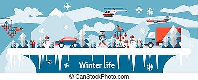 Winter life background
