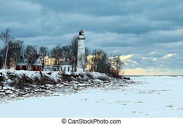 Winter Lighthouse - Remote lighthouse on a lonely windswept...