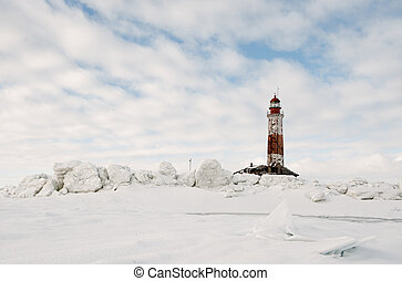 Winter Lighthouse. The Lighthouse island in the winter on...