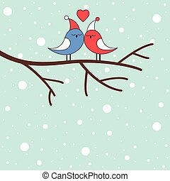 Winter love birds on a branch