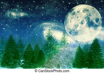 Winter magic forest at night background with trees over moon