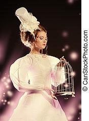 winter magic - Portrait of a beautiful fashion model in the ...