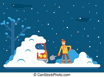 Winter Man Digs Car Out of Snow Background Flat Design...