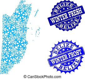 Winter Map of Belize and Winter Fresh and Frost Grunge Stamps