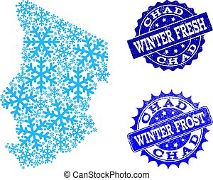 Winter Map of Chad and Winter Fresh and Frost Grunge Stamps