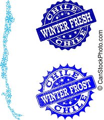 Winter Map of Chile and Winter Fresh and Frost Grunge Stamps