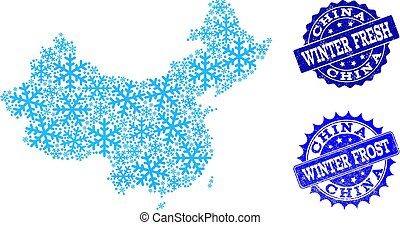 Winter Map of China and Winter Fresh and Frost Grunge Stamps