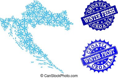 Winter Map of Croatia and Winter Fresh and Frost Grunge Stamps