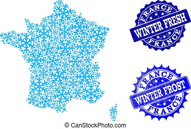 Winter Map of France and Winter Fresh and Frost Grunge Stamps