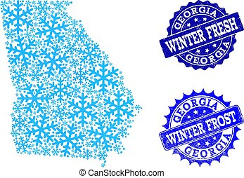 Winter Map of Georgia State and Winter Fresh and Frost Grunge Stamps
