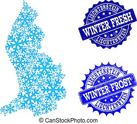 Winter Map of Liechtenstein and Winter Fresh and Frost Grunge Stamps