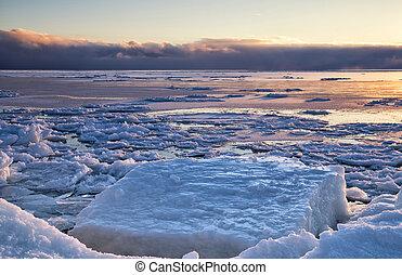 winter, meer, ijs
