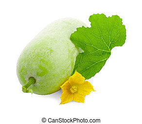 Winter melon fruit with leaf and flower isolated on white background