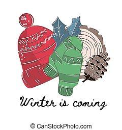 WINTER Merry Christmas Cartoon Vector Illustration Set