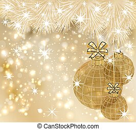 Winter Merry Christmas golden wallpaper, vector illustration