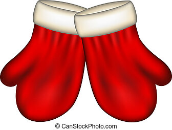 Winter mittens in red design