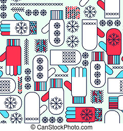 Winter mittens snowflake seamless pattern