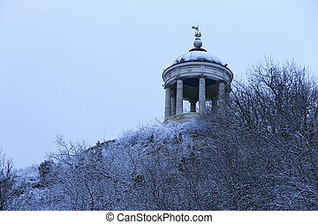 winter., montagne, monuments, pyatigorsk, repères, mashuk, aeolus, harpe